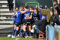Bath Rugby players celebrate a try from team-mate Joe Cokanasiga. Gallagher Premiership match, between Bath Rugby and Wasps on May 5, 2019 at the Recreation Ground in Bath, England. Photo by: Patrick Khachfe / Onside Images