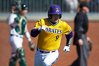 Seth Caddell (9) of the East Carolina Pirates hustles down the first base line against the Charlotte 49ers at Hayes Stadium on March 8, 2020 in Charlotte, North Carolina. The Pirates defeated the 49ers 4-1. (Brian Westerholt/Four Seam Images)