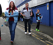 1st October 2017, Goodison Park, Liverpool, England; EPL Premier League Football, Everton versus Burnley;  Smiling Burnley fans arriving at the stadium before the match