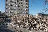 Gloucester House, empty and awaiting demolition, and the rubble of demolished Durham Court blocks in Phase 2b of Brent Council's South Kilburn Estate regeneration scheme.