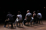 """Donald Webber Jr., Lauren Boyd, Gregory Treco, Sasha Hollinger and J. Quinton Johnson from the 'Hamilton' cast during a Q & A before The Rockefeller Foundation and The Gilder Lehrman Institute of American History sponsored High School student #EduHam matinee performance of """"Hamilton"""" at the Richard Rodgers Theatre on May 24, 2017 in New York City."""