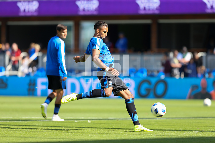 San Jose, CA - Sunday October 21, 2018: Danny Hoesen prior to a Major League Soccer (MLS) match between the San Jose Earthquakes and the Colorado Rapids at Avaya Stadium.