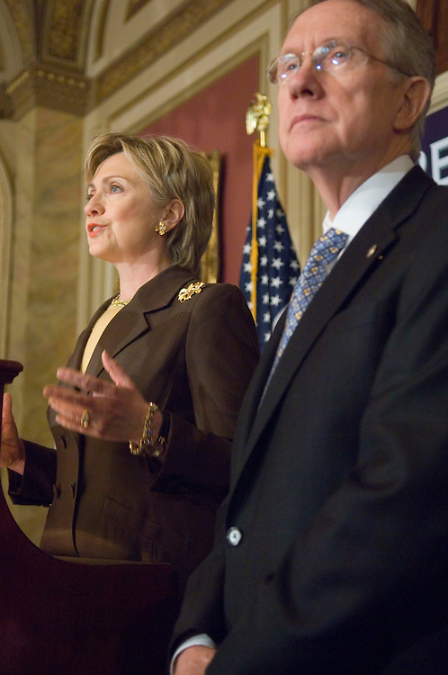 05/10/06--Senator Hillary Rodham Clinton, D-N.Y., and Senate Minority Leader Harry Reid, D-Nev., during a news conference on the effects of the health bill on access to contraception. They said the bill, sponsored by Sen. Michael B. Enzi, R-Wyo., and which is being considered in the Senate, would make it harder for poor women to obtain contraception..Congressional Quarterly Photo by Scott J. Ferrell