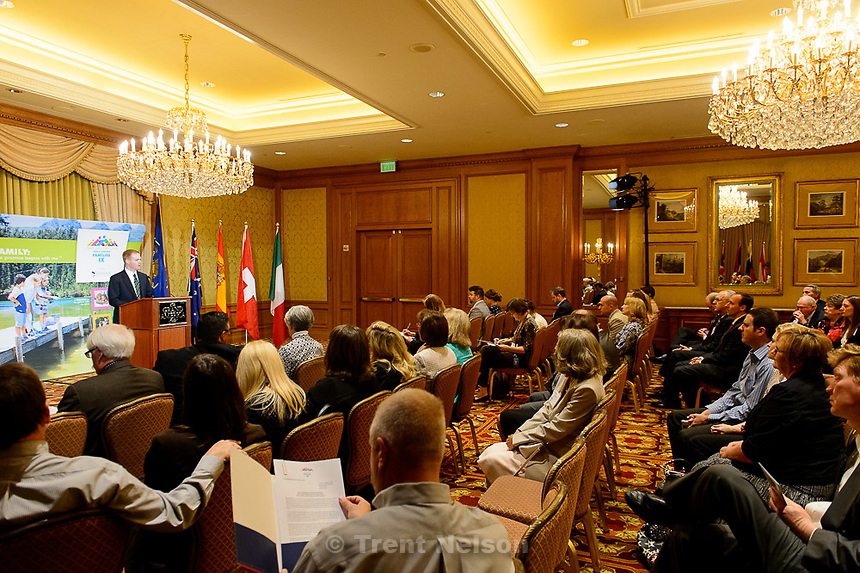 Trent Nelson     The Salt Lake Tribune<br /> Stanford Swim, Chairman of the Sutherland Institute, speaks as the World Congress of Families IX hold a press conference at the Grand America Hotel in Salt Lake City, Tuesday May 12, 2015 to talk about their upcoming October conference.