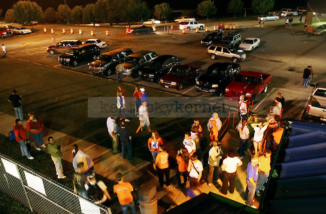 Kids and parents mingle after the football game at Pike County Central High School..