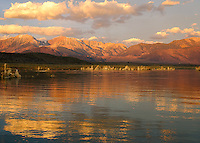 The warmth of the sun on the eastern Sierra range over Mono Lake