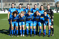 20190324 - OOSTAKKER , BELGIUM : Gent's Marie Minnaert , Silke Vanwynsberghe , Nicky Van Den Abbeele , Lotte De Wilde , Amber Maximus , Lowiese Seynhave , Kassandra Missipo , Elena Dhont , Isabelle Iliano , Lenie Onzia and Chloe Vande Velde pictured posing for the teampicture before the quarter final of Belgian cup 2019 , a womensoccer game between KAA Gent Ladies and RSC Anderlecht , at the PGB stadion in Oostakker , sunday 24 th March 2019 . PHOTO SPORTPIX.BE | DAVID CATRY