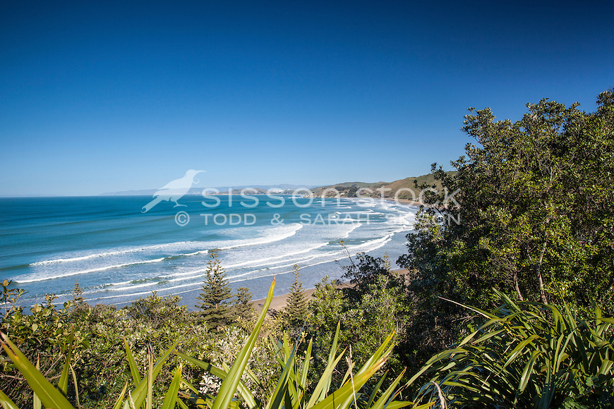 Blue sky day view towards Gisborne & Makorori Headland. North Island New Zealand.