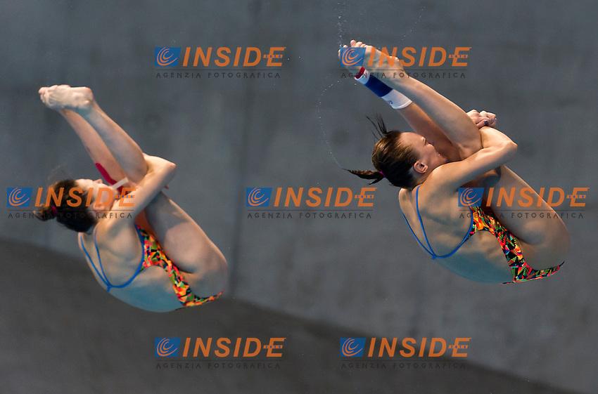 BAZHINA Nadezhda ILINYKH Kristina RUS bronze medal<br /> London, Queen Elizabeth II Olympic Park Pool <br /> LEN 2016 European Aquatics Elite Championships <br /> Diving<br /> Women's 3m synchronised springboard final <br /> Day 07 15-05-2016<br /> Photo Giorgio Perottino/Deepbluemedia/Insidefoto