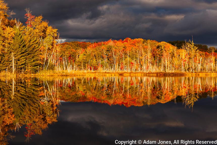 Red Jack Lake and sunrise reflection, Alger County, Upper Peninsula of Michigan.
