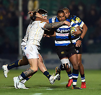 Aled Brew of Bath Rugby takes on the Worcester Warriors defence. Aviva Premiership match, between Worcester Warriors and Bath Rugby on January 5, 2018 at Sixways Stadium in Worcester, England. Photo by: Patrick Khachfe / Onside Images