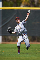 Central Michigan Chippewas center fielder Zach Gilles (5) during practice before a game against the Boston College Eagles on March 3, 2017 at North Charlotte Regional Park in Port Charlotte, Florida.  Boston College defeated Central Michigan 5-4.  (Mike Janes/Four Seam Images)