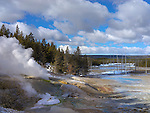 Yellowstone National Park, WY:<br /> Fumaroles (steam vents) in the Porcelain Basin of Norris Geyser Basin