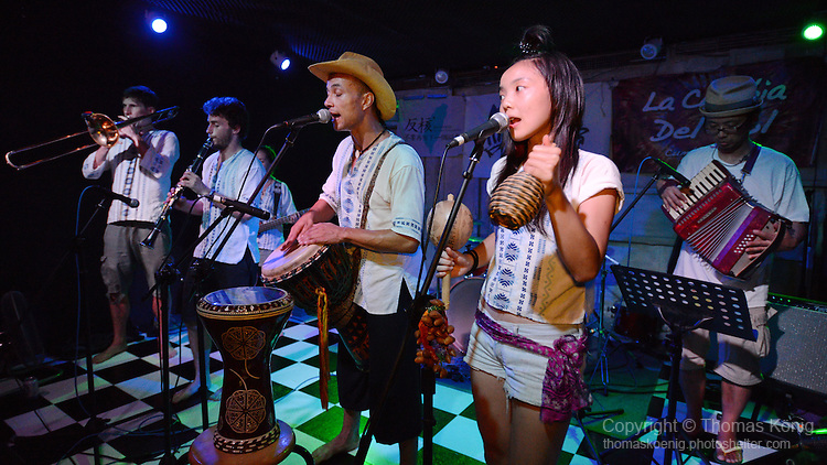 Kaohsiung, Taiwan -- LA CUMBIA DEL SOL performing at the Paramount Bar on July 06, 2014.