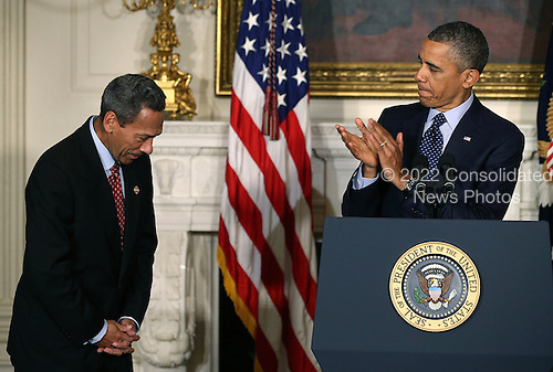 United States President Barack Obama congratulates U.S. Representative Mel Watt (Democrat of North Carolina) (L) after nominating him to be the next director of the Federal Housing Finance Agency during a personnel announcement at the White House May 1, 2013 in Washington, DC. Watt would be the first permanent director in nearly four years replacing Edward J. DeMarco for the housing regulator that oversees several  mortgage companies.  <br /> Credit: Mark Wilson / Pool via CNP<br /> Credit: Mark Wilson / Pool via CNP