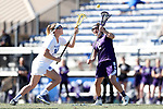 DURHAM, NC - FEBRUARY 18: Northwestern's Selena Lasota (CAN) (2) and Duke's Olivia Jenner (14). The Duke University Blue Devils hosted the Northwestern University Wildcats on February 18, 2018, at Koskinen Stadium in Durham, NC in women's college lacrosse match. Duke won the game 9-8.