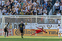 CARSON, CA - May 25, 2014: Los Angeles Galaxy goalkeeper Jaime Penedo (18) guess the wrong direction in a penalty kick during the LA Galaxy vs Philadelphia Union match at the StubHub Center in Carson, California. Final score, LA Galaxy 4, Philadelphia Union  1.
