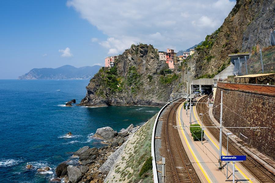 MANAROLA, ITALY - CIRCA MAY 2015:  View of train station and sea cliffs  in the village of Manarola in Cinque Terre, Italy.