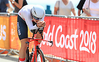 England's Harry Tanfield takes silver int eh mens time trial. Commonwealth Games, Gold Coast, Australia. Tuesday 10 April, 2018. Copyright photo: John Cowpland / www.photosport.nz /SWpix.com /SWpix.com