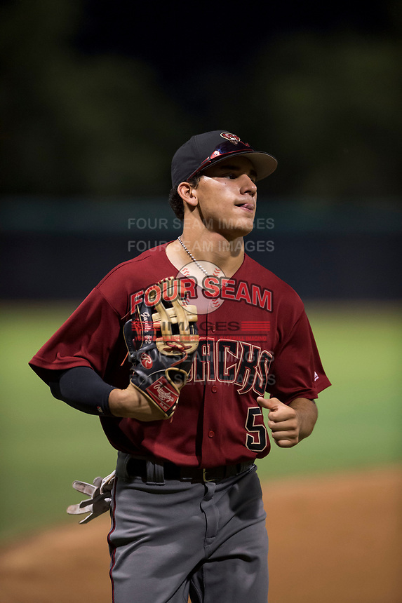 AZL Diamondbacks left fielder Alek Thomas (5) jogs off the field between innings of an Arizona League game against the AZL White Sox at Camelback Ranch on July 12, 2018 in Glendale, Arizona. The AZL Diamondbacks defeated the AZL White Sox 5-1. (Zachary Lucy/Four Seam Images)