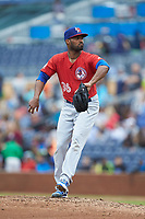 Buffalo Bison relief pitcher Al Alburquerque (36) in action against the Durham Bulls at Durham Bulls Athletic Park on April 25, 2018 in Allentown, Pennsylvania.  The Bison defeated the Bulls 5-2.  (Brian Westerholt/Four Seam Images)