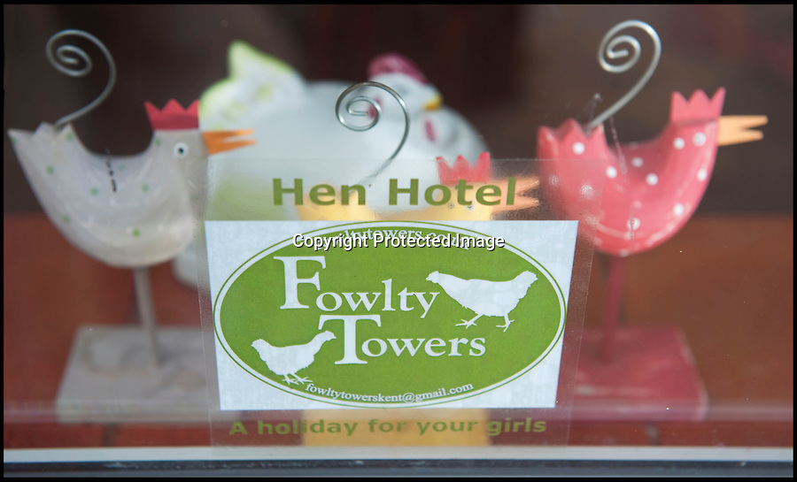 BNPS.co.uk (01202 558833)<br /> Pic: PhilYeomans/BNPS<br /> <br /> Fowlty Towers - Egg-ceptional new hotel for hens.<br /> <br /> The boom in hen keeping across Britain has led a canny Kent lady to spotting a gap in the market for a deluxe hotel for punters beloved poultry whilst they jet off on their summer hols. <br /> <br /> Julie Smith from Cowden is inundated with requests for 'rooms' at 'Fowlty Towers', with customers booking months in advance to secure a spot for their prized birds. <br /> <br /> Julie's all-inclusive resort costs a poultry £7 a night for each run, with round the cluck service including all food and drink.