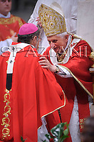 Pope Benedict XVI, .and the leader of the world's Orthodox Christians, Patriarch Bartholomew I, celebrate a ceremony in memory of St. Paul, Holy Mass and imposition of the Pallium on Metropolitan Archbishops