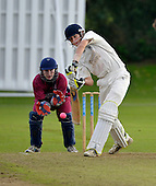 Cricket Scotland Scottish Cup Final - Watsonians CC V Heriots CC at Titwood - Glasgow - Heriots overseas am Brad Kneebone on his way to 51 - Watsonians keeper is Andy Hislop - 02.9.12 - 07702 319 738 - clanmacleod@btinternet.com - www.donald-macleod.com (see story W Dick 077707 839 23)
