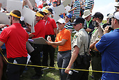 June 14th 2017, Erin, Wisconsin, USA; Rory McIlroy signs autographs after finishing on the 18th hole during the practice round for the 117th US Open on June 14, 2017 at Erin Hills in Erin, Wisconsin