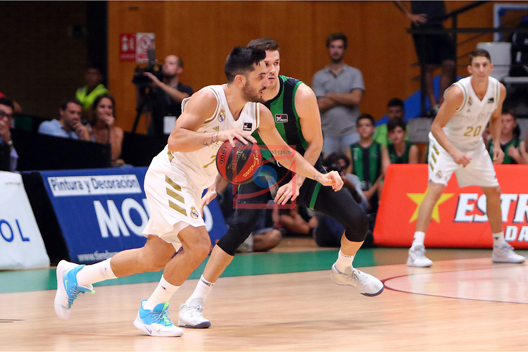 Liga ENDESA 2019/2020. Game: 01.<br /> Club Joventut Badalona vs Real Madrid: 69-88.<br /> Facundo Campazzo vs Xabi Lopez Arostegui.