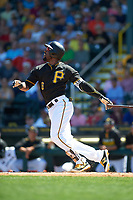 Pittsburgh Pirates left fielder Starling Marte (6) at bat during a Spring Training game against the Boston Red Sox on March 9, 2016 at McKechnie Field in Bradenton, Florida.  Boston defeated Pittsburgh 6-2.  (Mike Janes/Four Seam Images)