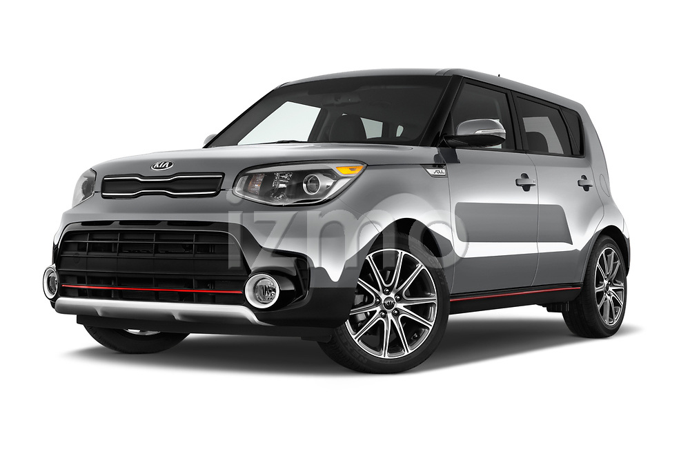 Stock pictures of low aggressive front three quarter view of 2017 KIA Soul Exclaim 5 Door Hatchback Low Aggressive