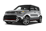 Stock pictures of low aggressive front three quarter view of 2018 KIA Soul Exclaim 5 Door Hatchback Low Aggressive