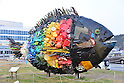 "March 19, 2016, Okayama, Japan - The ""Chinu, Black Sea Bream of Uno"", an installation art produced by Yodogawa Technique of Japan is displayed at Uno port in Okayama prefecture on Saturday, March 19, 2016 as a part of Setouchi Triennale 2016. Setouchi Triennale art festival started at islands of Setonaikai mediterranean sea from March 20 through November 6.  (Photo by Yoshio Tsunoda/AFLO) LWX -ytd-"