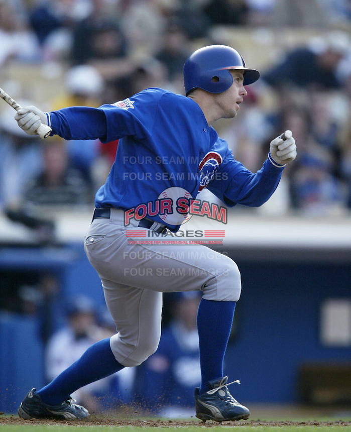 Mark Bellhorn of the Chicago Cubs bats during a 2002 MLB season game against the Los Angeles Dodgers at Dodger Stadium, in Los Angeles, California. (Larry Goren/Four Seam Images)