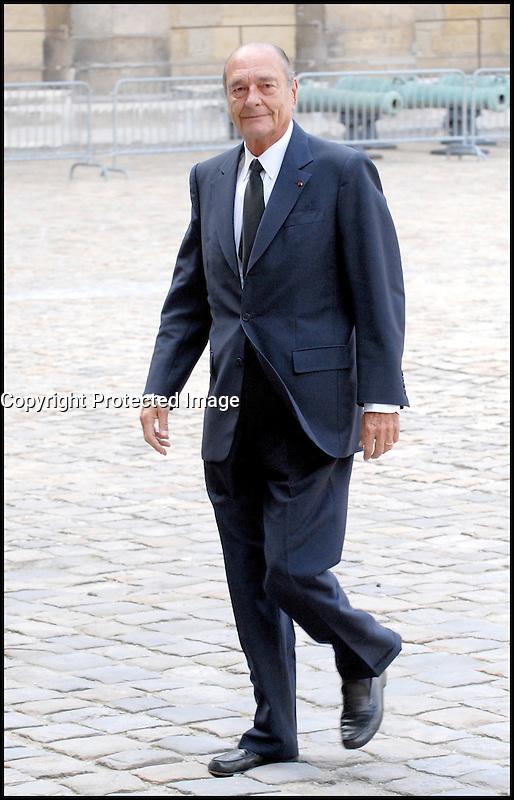 JACQUES CHIRAC<br /> LES OBSEQUES DE PIERRE MESSMER ' ANCIEN PREMIER MINISTRE DE GEORGES POMPIDOU ' ONT ETE CELEBREES EN L' EGLISE SAINT LOUIS DES INVALIDES. #
