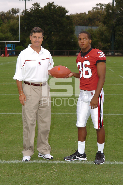 7 August 2006: Stanford Cardinal head coach Walt Harris and Chris Hobbs during Stanford Football's Team Photo Day at Stanford Football's Practice Field in Stanford, CA.