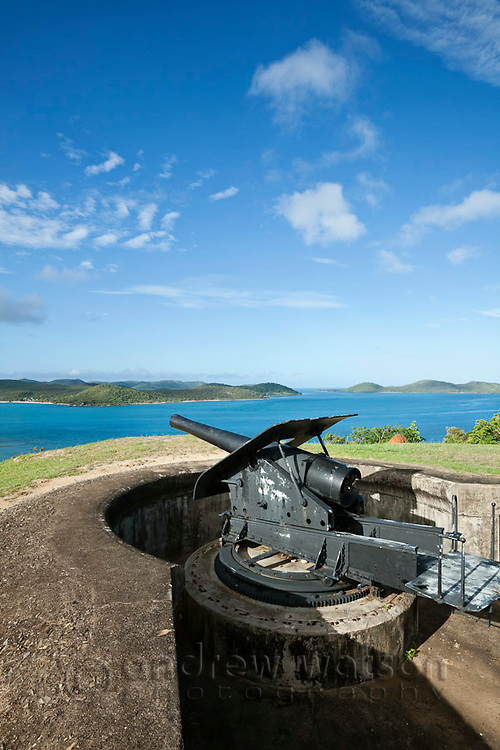 Gun battery overlooking the Torres Stait islands at Green Hill Fort.  The fort was built in 1893 to protect against a Russian invasion.  Thursday Island, Torres Strait Islands, Queensland, Australia