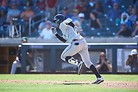 Salt River Rafters Victor Victor Mesa (10), of the Miami Marlins organization, runs to first base during the Arizona Fall League Championship Game against the Surprise Saguaros on October 26, 2019 at Salt River Fields at Talking Stick in Scottsdale, Arizona. The Rafters defeated the Saguaros 5-1. (Zachary Lucy/Four Seam Images)