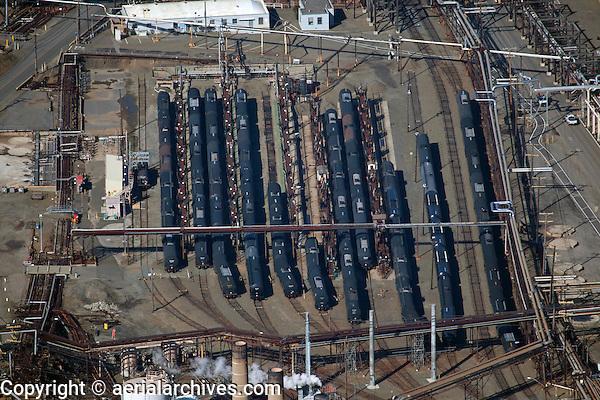 aerial photograph of the railroad tanker cars located adjacent to the Chevron Richmond Refinery, Richmond, California