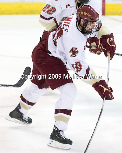 Jimmy Hayes (BC - 10) opens scoring in the game. - The Boston College Eagles defeated the Merrimack College Warriors 4-3 on Friday, October 30, 2009, at Conte Forum in Chestnut Hill, Massachusetts.