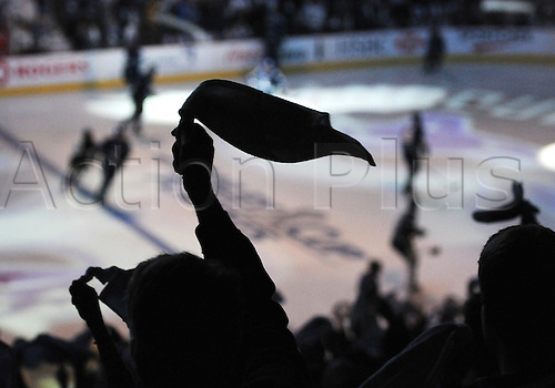 18.05.2011 Vancouver Canucks fans waves their white towels as the team takes the ice before game 2 of the Western Conference Finals against the San Jose Sharks in Vancouver, British Columbia on Wednesday night.