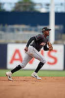Jupiter Hammerheads shortstop Demetrius Sims (5) during a Florida State League game against the Tampa Tarpons on July 26, 2019 at George M. Steinbrenner Field in Tampa, Florida.  Tampa defeated Jupiter 2-0 in the first game of a doubleheader.  (Mike Janes/Four Seam Images)