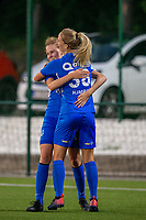 20190823 - OUD HEVERLEE BELGIUM : KRC Genk's Jarne Teulings  pictured celebrating her goal with Eleen Kimps (right) during the female soccer game between the OHL Ladies vs KRC Genk Ladies, the first game for both teams in the Belgian Women's Super League , Friday 23rd  August 2019 at the OHL Jeugdcomplex , Belgium . PHOTO SPORTPIX.BE | SEVIL OKTEM