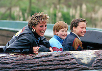 DIANA PRINCESS OF WALES, PRINCE WILLIAM & PRINCE HARRY VISIT THE 'THORPE PARK' AMUSEMENT PARK..PICTURE: UK PRESS