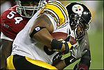 TAMPA, FL-.Arizona Cardinals linebacker Andre Frazier, left, nails Pittsburgh Steelers running back Carey Davis during the second quarter of Super Bowl XLIII at Raymond James Stadium in Tampa on Sunday, February 1st, 2009..(Photo by Brian Blanco/Bradenton Herald)