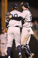 September 4, 2009:  Relief Pitcher Eric Wordekemper of the Scranton Wilkes-Barre Yankees celebrates with Chris Stewart after the last out during a game at Frontier Field in Rochester, NY.  Scranton is the Triple-A International League affiliate of the New York Yankees and clinched the North Division Title with a victory over Rochester.  Photo By Mike Janes/Four Seam Images