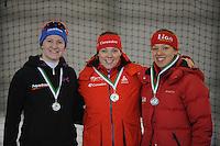 SCHAATSEN: GRONINGEN: Sportcentrum Kardinge, 02-02-2013, Seizoen 2012-2013, Gruno Bokaal, podium 3000m Dames, Lotte van Beek, Marije Joling, Yvonne Nauta, ©foto Martin de Jong