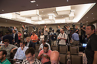 New York, NY - Friday June 24, 2016: Media during a press conference prior to the final of the Copa America Centenario at The Westin New York at Times Square.<br /> <br /> Photo during American Cup USA 2016 Press Conference The Westin New York at Times Square---- Foto durante la Conferencia de Prensa previo a la gran final de la Copa America Centenario USA 2016, en la foto: Vista General<br /> <br /> ---24/06/2016/MEXSPORT/ David Leah.