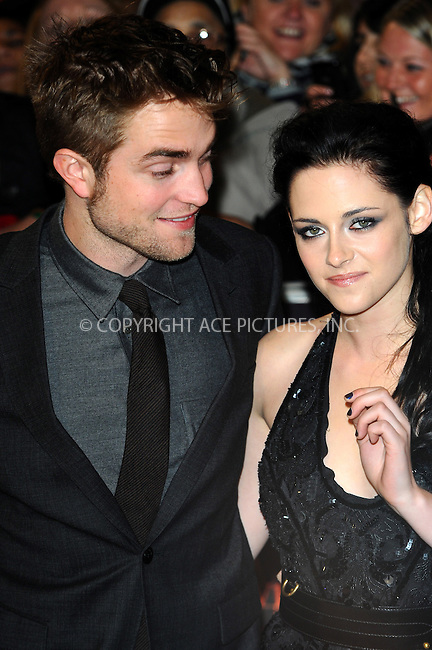 WWW.ACEPIXS.COM . . . . .  ..... . . . . US SALES ONLY . . . . .....November 16 2011, London....Robert Pattinson and Kristen Stewart at the premiere of 'The Twilight Saga: Breaking Dawn - Part 1' at the Westfield Stratford on November 16 2011 in London... ..Please byline: FAMOUS-ACE PICTURES... . . . .  ....Ace Pictures, Inc:  ..Tel: (212) 243-8787..e-mail: info@acepixs.com..web: http://www.acepixs.com